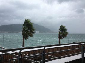 海で風が強い状況